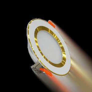 Đèn LED âm trần chống chói mỏng 9W viền vàng 3 màu
