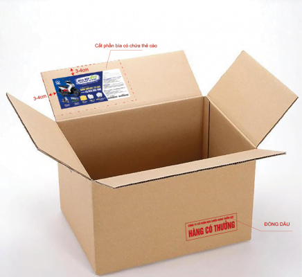 Thùng sản phẩm có chứa thẻ cao CTKM của TLC Lighting