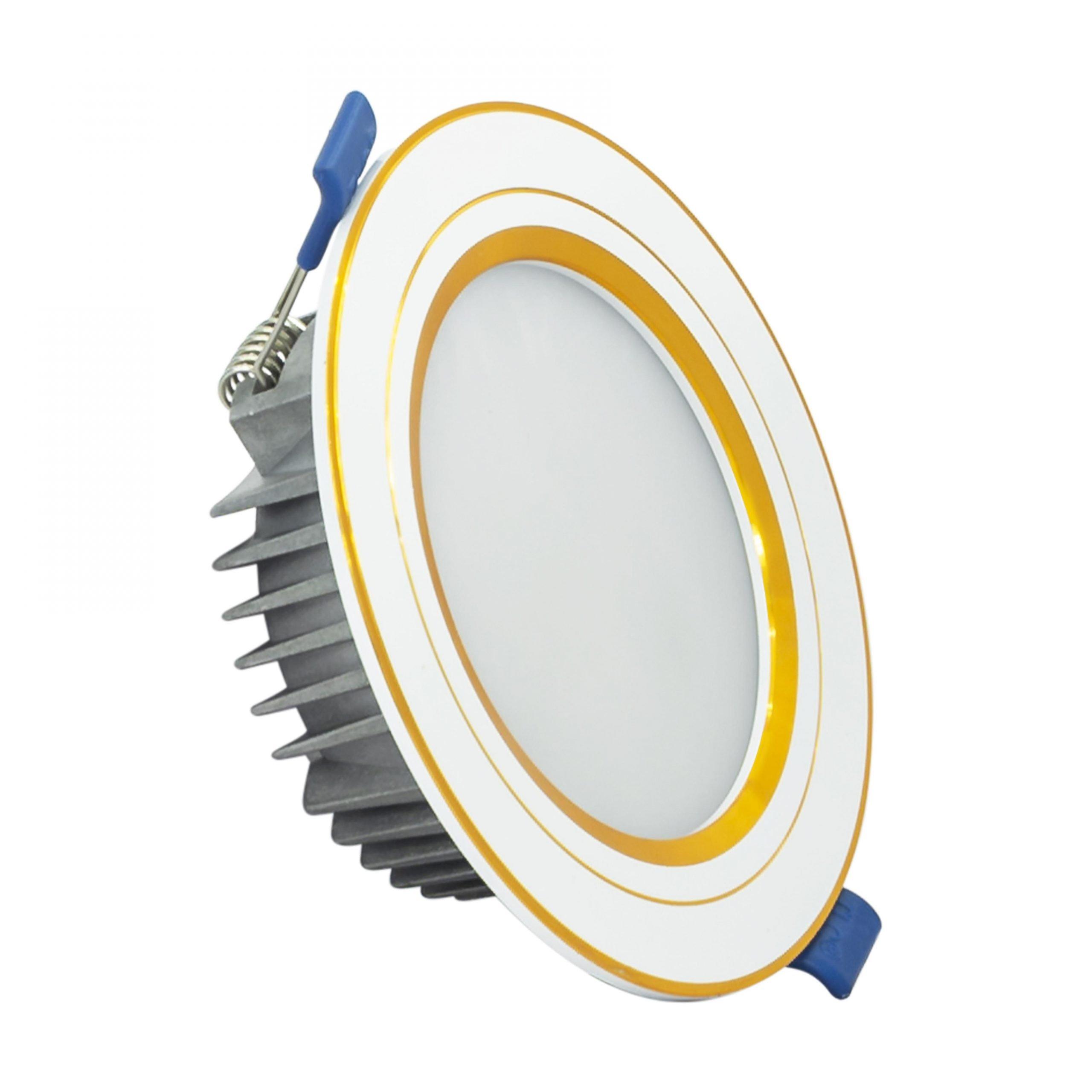 Đèn LED âm trần khối đúc TOS 7W ba màu viền vàng