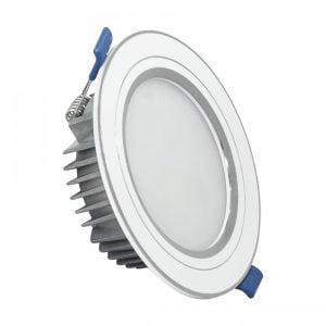 Đèn LED âm trần khối đúc TOS 12W viền bạc.